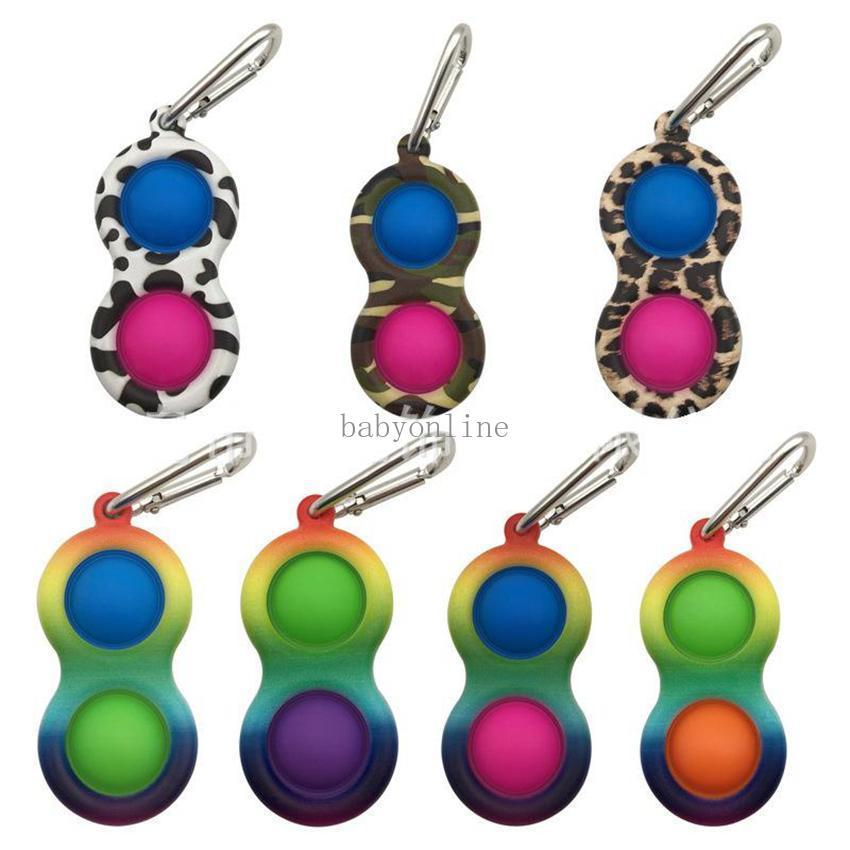 Three Holes Metal Colorful Pop it Push Bubble Key chain Sensory Fidget Toy Mini Keychain Stress Reliever Toy Adult Kids Pendants
