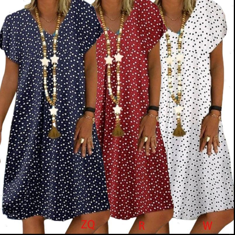 Summer manica corta Dresses Dresses V Neck Slip Midi cuore stampato Sundress Ladies Plus Size Beach S 5XL