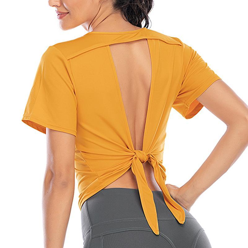Yoga Outfit Women's Top Hollow Back Exercise Short Sleeve Rope Fitness Clothes Breathable Quick-dry Sports