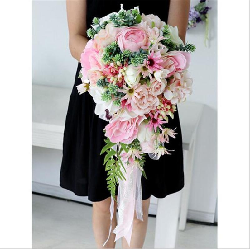 Flores de boda Droplets de agua dulce Ramo de novia Ramo de novia Ramo de novia Flor artificial para fiesta de vacaciones La Boda