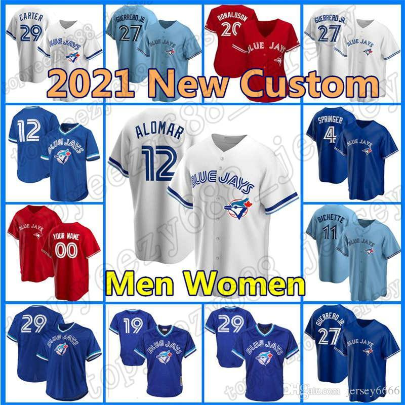 12 Roberto Alomar Toronto Custom Blue Bayball Jays 4 Джордж Спрингер Джерси 27 Владимир Герреро JR 10 Marcus Semien 8 Cavan Biggio