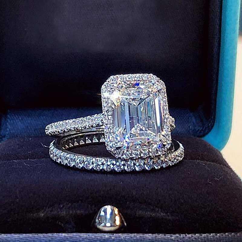 에메랄드 컷 2ct 실험실 다이아몬드 약속 링 세트 여성을위한 925 스털링 실버 약혼 결혼 밴드 반지 신부 파티 쥬얼리 Y0723