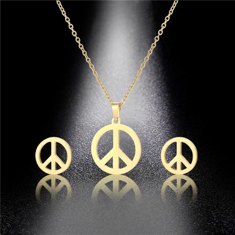 صغير المقاوم للصدأ الفولاذ الجوف يعارض حرب الحب السلام علامة قلادة سلسلة قلادة مجوهرات المرأة الأم هدية قلادات