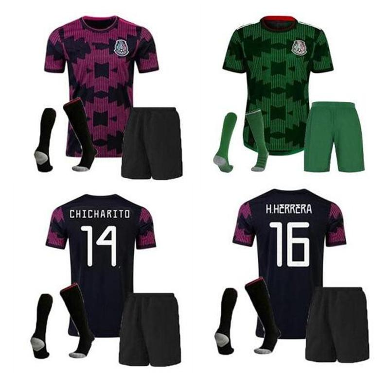21 22 México Men + Kids Soccer Jersey Shorts Socks Uniforme completo 20 21 Camisetas de fútbol Mexique Chicharito Lozano Carlos Vela Raul Tecatito Camisa de Fútbol Conjunto