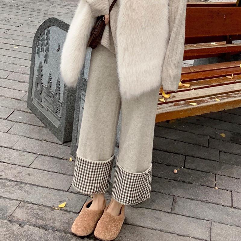 Hohe Taille Hose Frauen Woolen Hosen Herbst Winter Mode Weibliche Dicke Breite Bein Hose Plaid Manschetten Pantalon Casual 210512