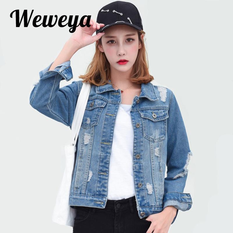 Weweya outono denim jaqueta jaqueta mulheres jeans fino casacos femininos casaco feminino outwear vintage recusar colarinho mulheres