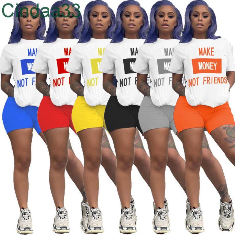 Yaz Kadın Şort Kıyafetler Mektup 2 Parça Set Tasarımcı Eşofman Kolsuz Spor Ince Gömlek Pantolon Spor Takım Elbise Giyim 2021