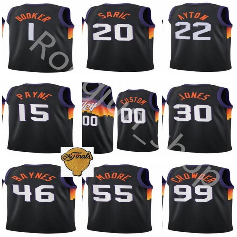 Écran imprimé Basketball Jae Crowder Jersey Devin Booker 1 Deandre Ayton 22 Mikal Bridges 25 Chris Paul 3 Cameron Johnson 23 Payne Valley D