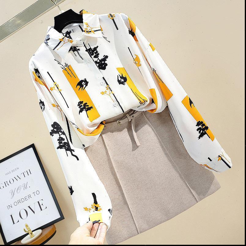 Bahar Kadın Gömlek Sonbahar Bayan Uzun Kollu Gömlek Kore Retro Vahşi Kontrast Ofis Bayan GD268 Tops
