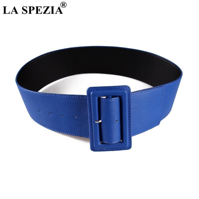 أحزمة الجلود الأزرق للنساء واسعة الإناث حزام الابازيم أزياء الخريف الشتاء العلامة التجارية الصلبة السيدات اللباس