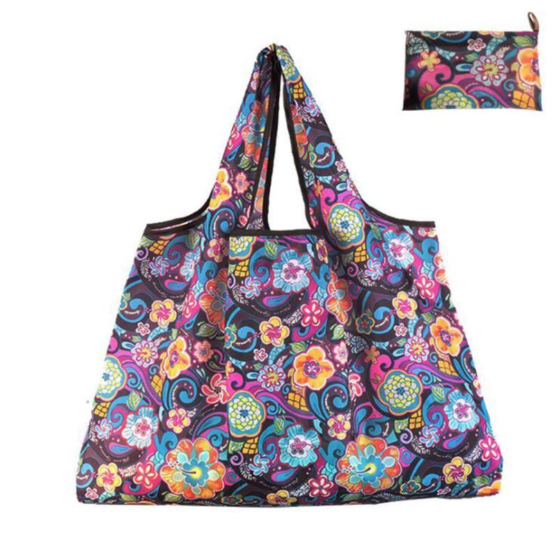 패션 큰 에코 쇼핑 방수 어깨 가방 푸른 꽃 잎 토트 핸드백 접는 재사용 가능한 foldable 가방