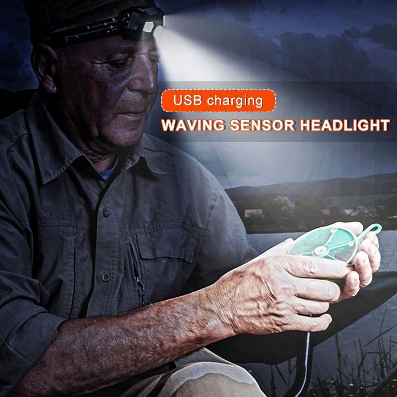 Фары Водонепроницаемые USB Перезаряжаемые Индукция Ультра Яркий Светодиодный Фара Датчик движения Жесткая Шляпа Головной Ламп Мощная фара