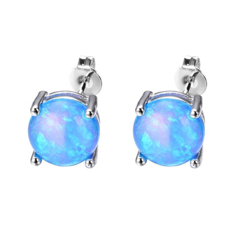 Pendientes azules plateados del estudio del ópalo azul 6 mm mini ronda para las mujeres joyería de moda