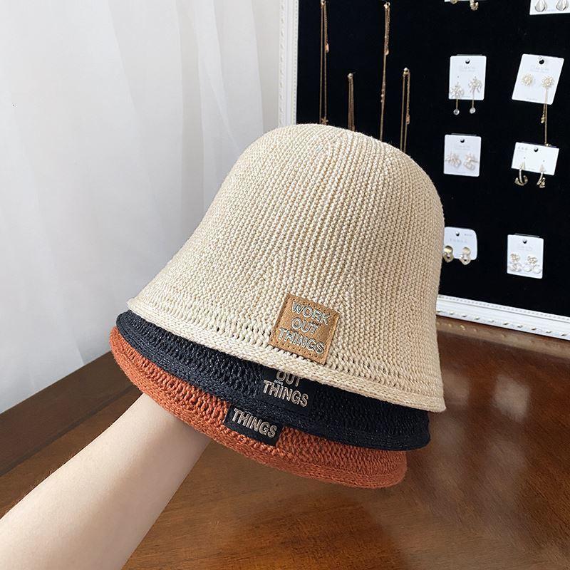 Sombrero de pescadores de sombrero para mujer de punto con punto de sombrero de sombrilla transpirable