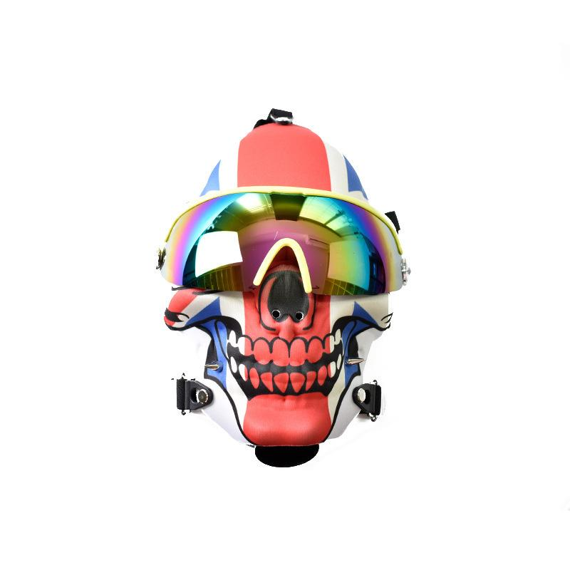 Silikon-Rohr Flammenschädel Silikon-Maske-Hukahn-Maske farbige Silikon-Rohrnütze mit Gläsern-Silikonen-Mask-Rohre