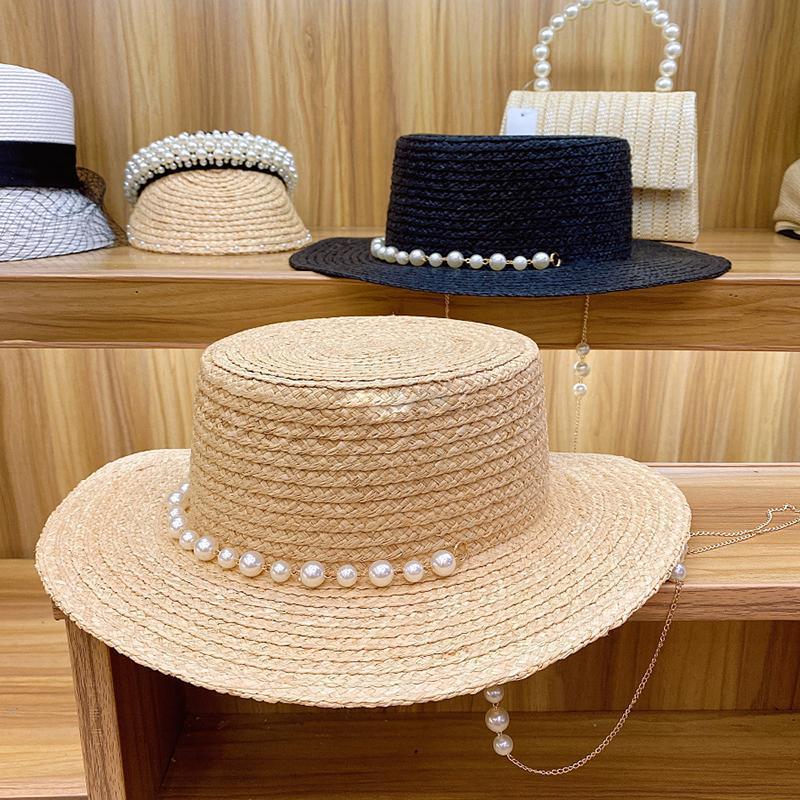 Fransız Zarif Inci Zincir Geniş Brim Rafya Düz Üst Hasır Kap Kadınlar için El Yapımı Bayan Yaz Plaj Kapaklar Lüks Şapka Güneşlik Şapkalar