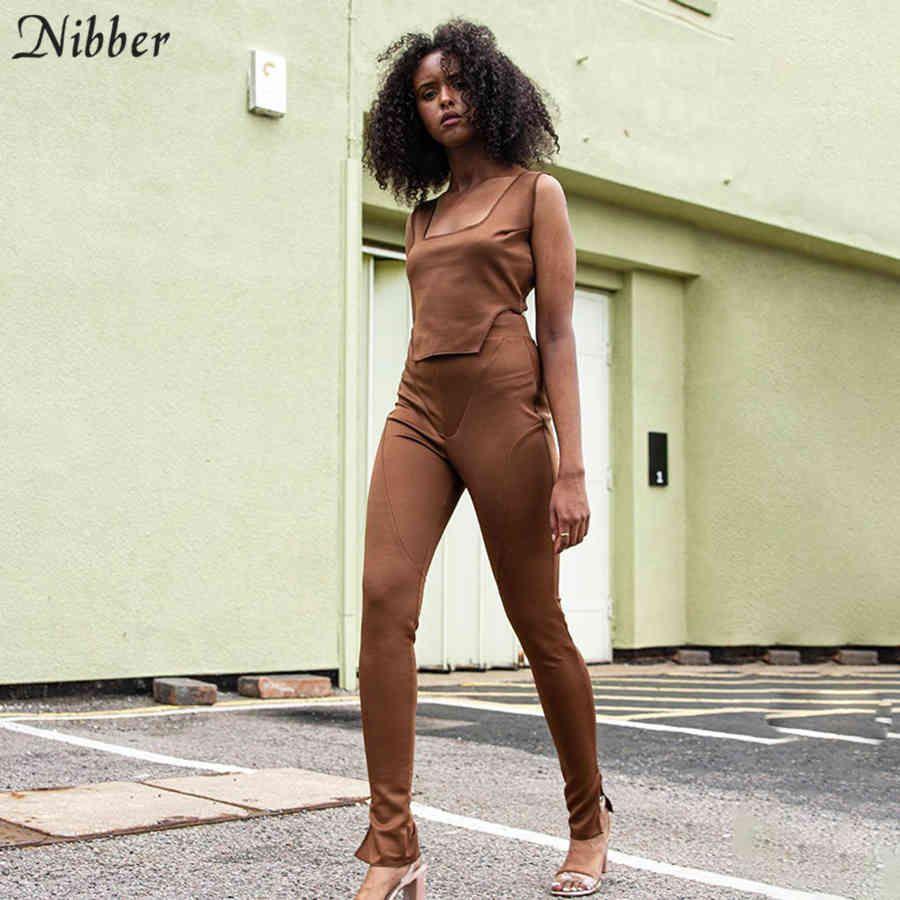 Nibber Herbst Casual Street Fitness Trainingsanzug Solide Langarm Kurz Top Und Hose 2 Stück Set Frauen Outfit Skinny Elastic Anzug C0402