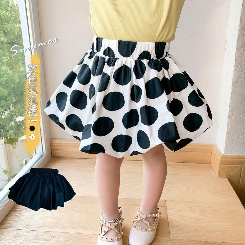 Kızlar Etek Çocuklar Yaz Siyah Nokta Baskılı Etekler Bebek Kız Sevimli Tüm Maç Giysileri