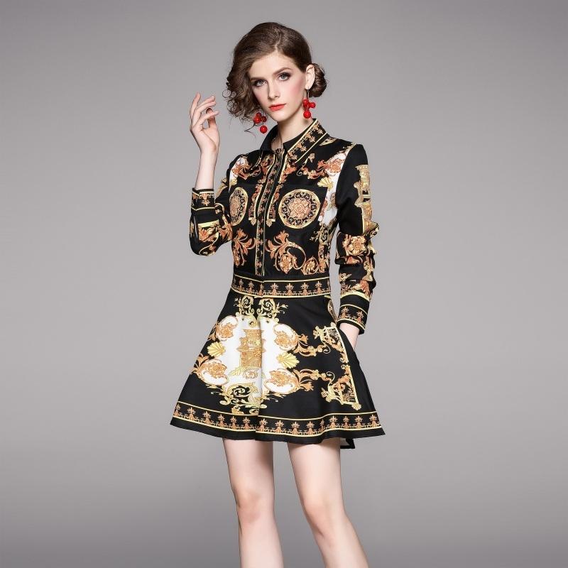 Women Long Sleeve Short Jacket Skirt Two Piece Set