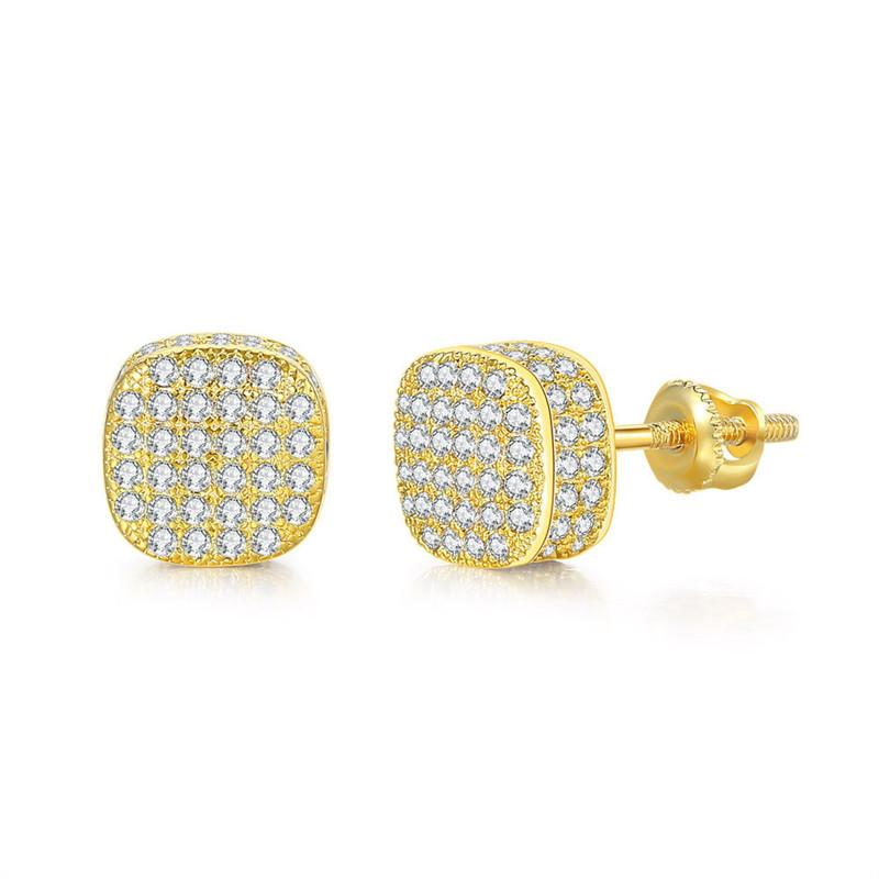 New Fashion High Quality Gold Silver Colors Bling CZ Earrings Studs for Men Women Earrings Nice Gift