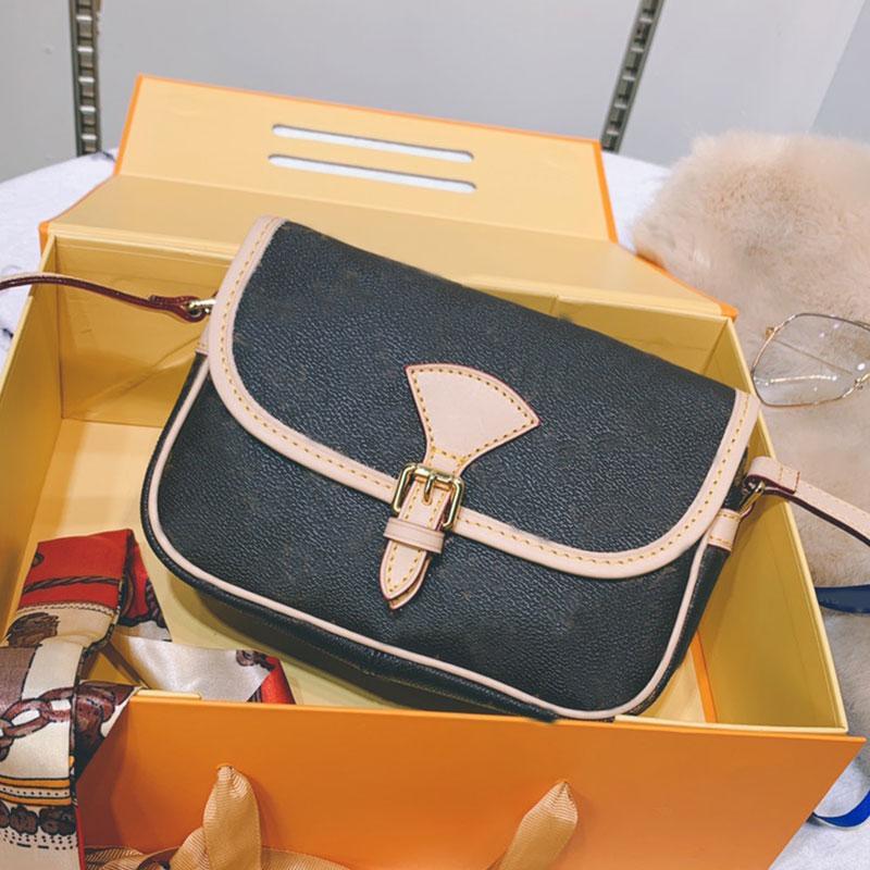 Handbag Fashion Shoulder Bag Wallets Messenger Saddle Bags Brown Genuine Leather Classic Letter Old Flower Bronze Hasp Handbags Purse Pocket