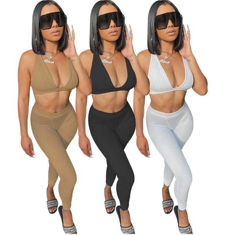 Seksi Kadınlar İki Parçalı Pantolon Set Katı Renk Eşofman Yelek Kolsuz Kıyafetler Rahat Moda Yoga Suits