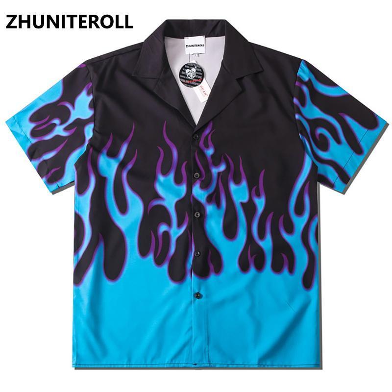 블루 화재 불꽃 인쇄 하와이 해변 셔츠 힙합 버튼 셔츠 망 여름 패션 짧은 소매 휴가 파티 블라우스 탑 남자 캐주얼