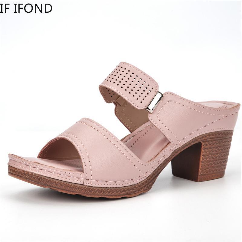IF IFOND Women Summer Vintage High Heel Sandals Outdoor Flip-flops Beach Shoes Female Slippers 2021 Casual Open Toe