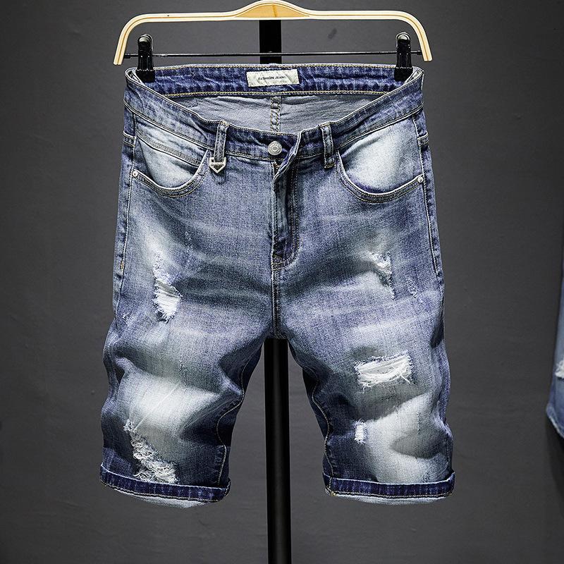 Yaz yeni delikli şort trend kısa pantolon erkek gerçek kot