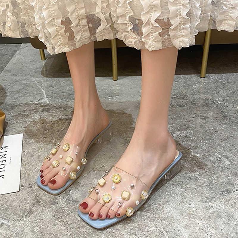 RIMOCY Fashion Perle Perle Sandales à talons à talon pour femmes Summer TRANSPARENT PVC Jelly Chaussures Femme Beige Cristal Square Square Diapositives 210528