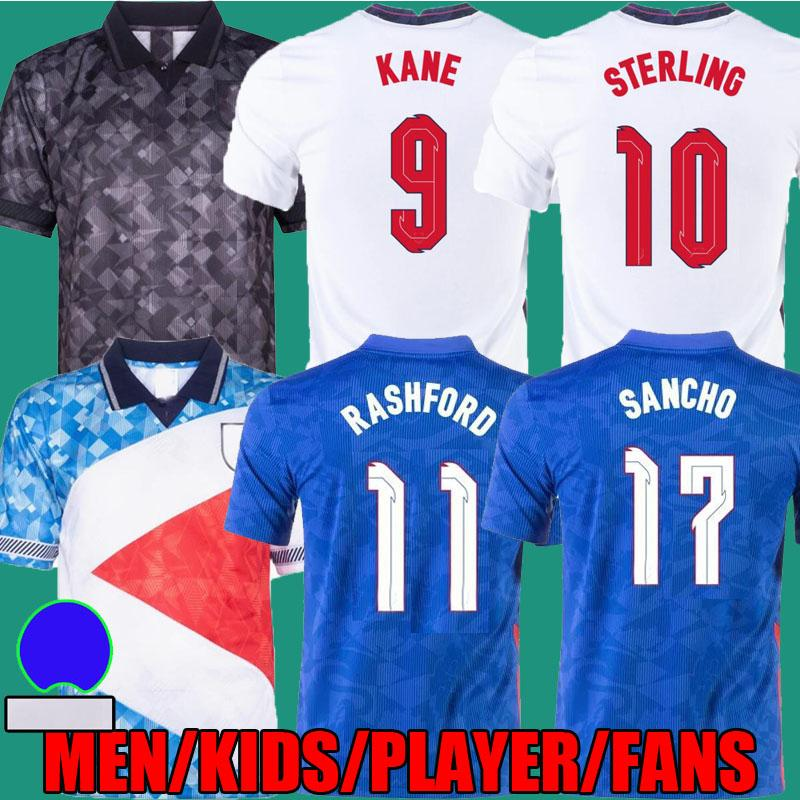 2020 2021 Inglaterra Jerseys de futebol 21 22 Kane Sterling Sancho Rashford Stones Maguire Montagem Foden Camisetas de Fútbol National Team Homens Kids Kit Versão