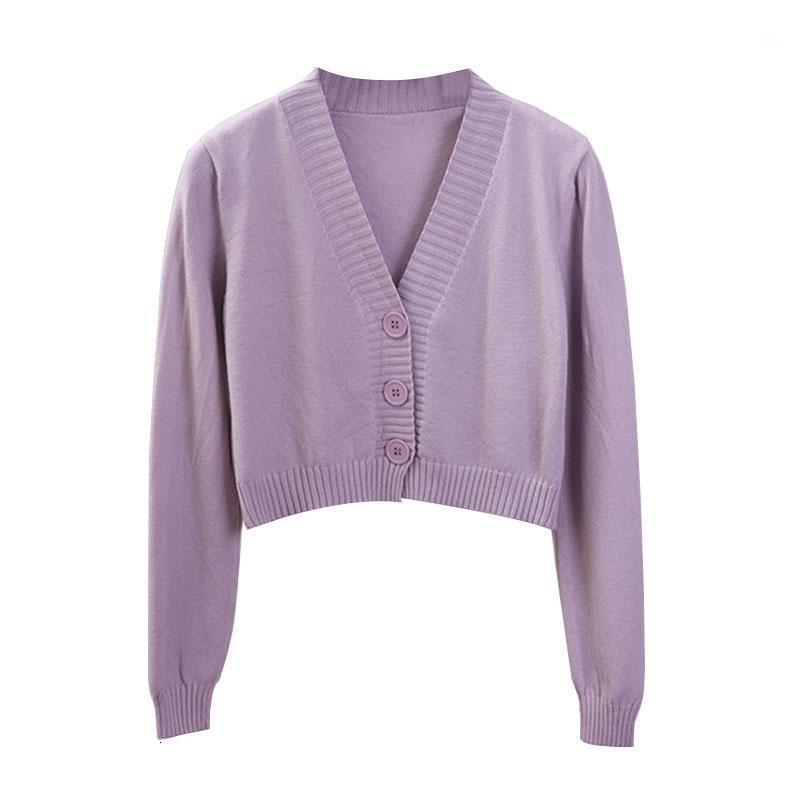 Women's Cropped Cardigan Pullover Weibliche Schwarz Weiß Kurze Pullover V-Ausschnitt Einzigen Breasted Pullover Frau Gestrickte Strickjacke GD1531