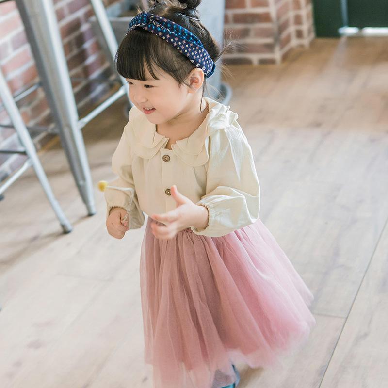 Atacado 2021 Primavera Estilo Coreano Meninas Camisas Peter Pan Collar Bluses Crianças Moda Roupas 2568 Y2