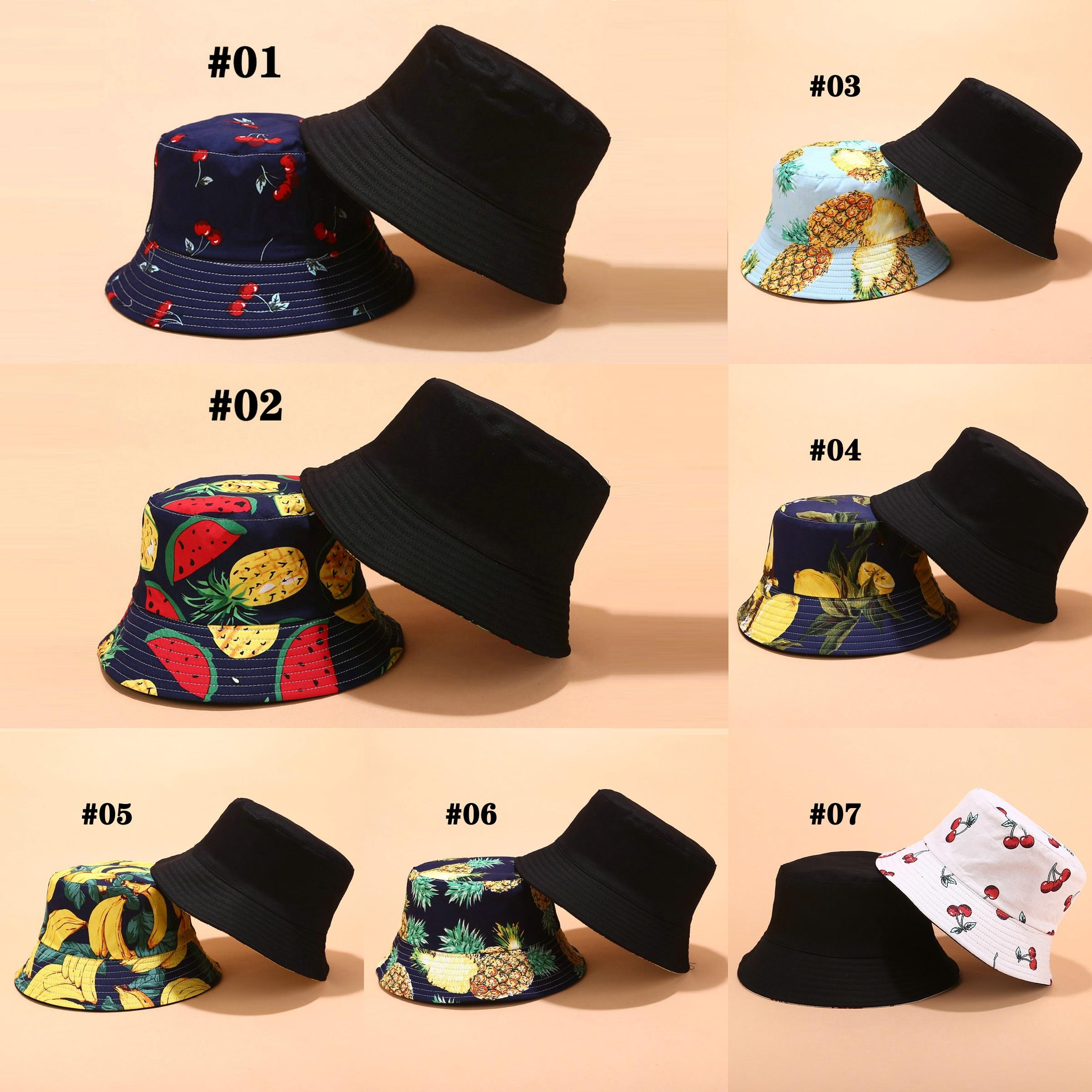 2021 Fisherman hats with tropical print and fruit design for men women summer outdoor sunshade hat