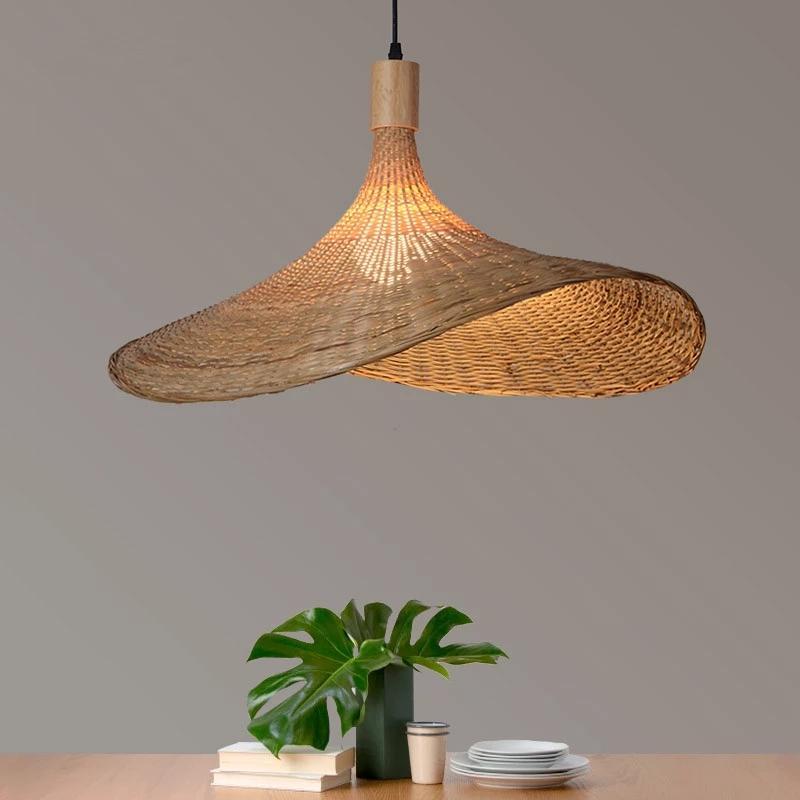 Mão moderna tecida lâmpada de bambu restaurante, hotel, família, sala de estar, sótão, retro, chapéu de palha personalizado, luz decorativa