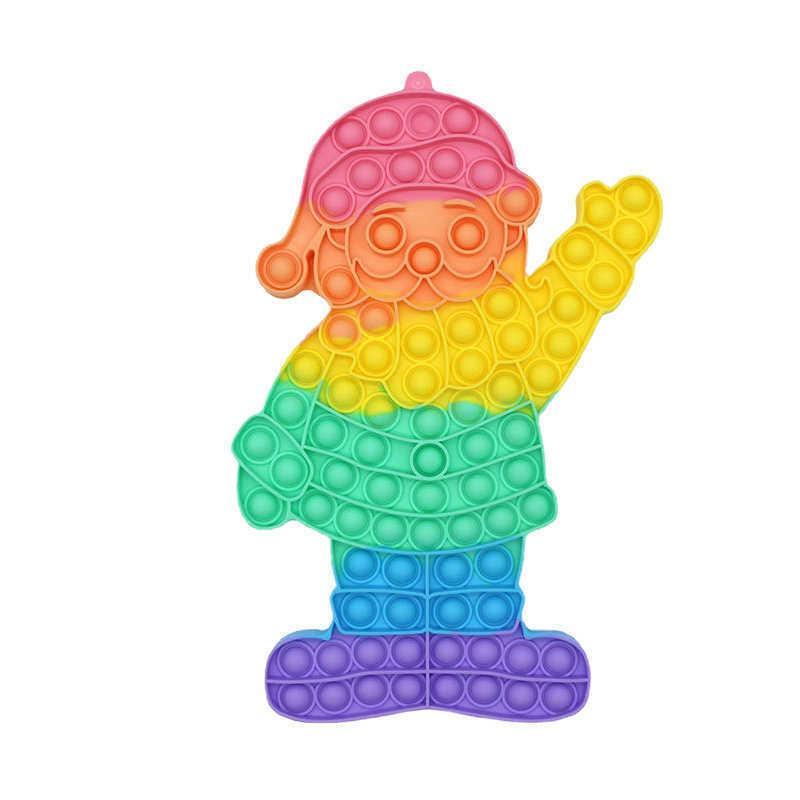 31 cm de goma Santa Claus Push Pop Bubble Poppers Puzzle Sensory Fidget Toys Gigante Gran Jumbo Rainbow Dedo Burbujas Tablero Tik Tok Regalos de Navidad G768MCV