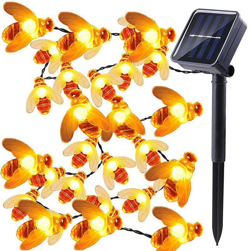 5m luzes solares string 20 LED mel abelha forma luzes de fadas movidas solares para casa de jardim de casa ao ar livre decoração de verão