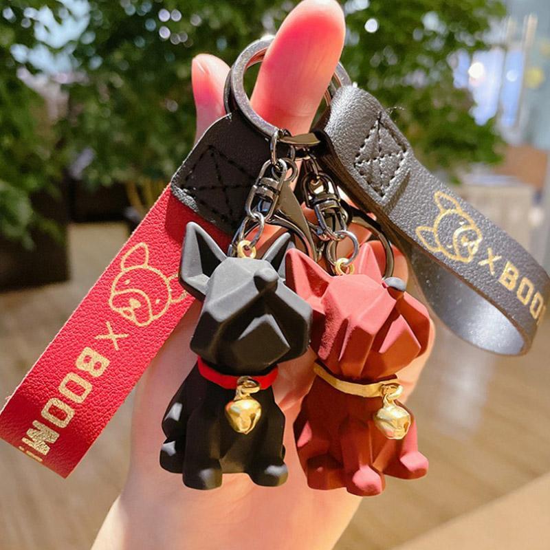 الفرنسية البلدغ مفتاح سلسلة الحب الدائري سيارة سلسلة المفاتيح الملحقات محفظة حقيبة يد حقيبة الظهر سحر هدية للنساء أطفال JG-Y093
