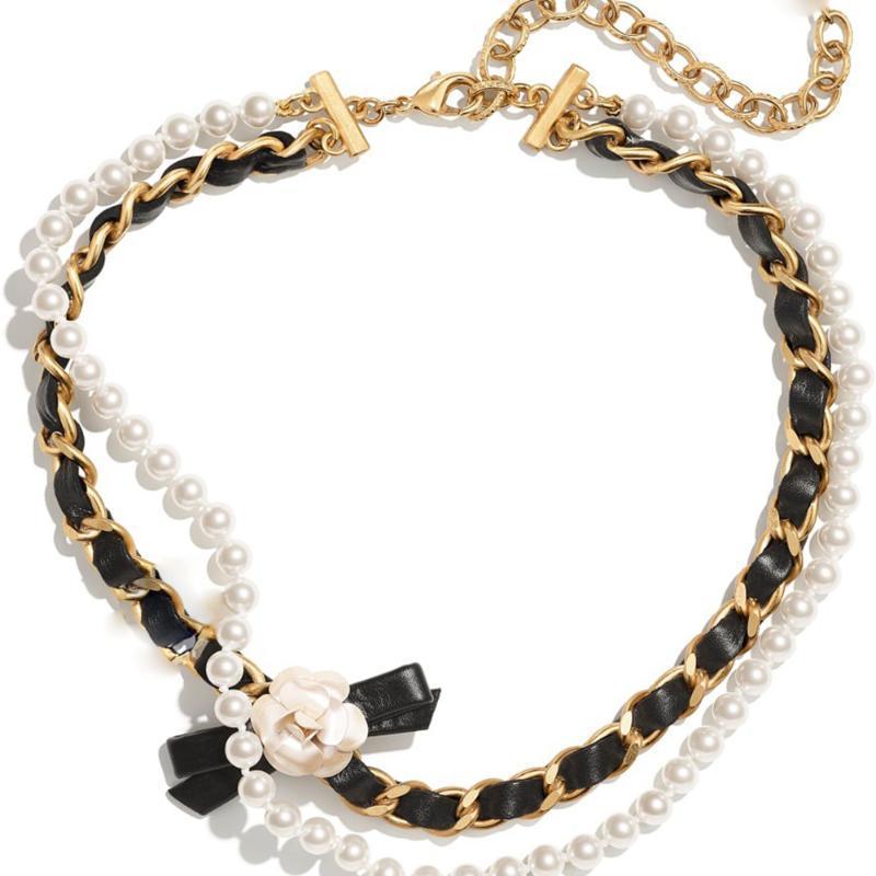 Joyería doble perla camelia collar femenino metal colocación cuero personalidad elegante feria doncella 2021 cadenas