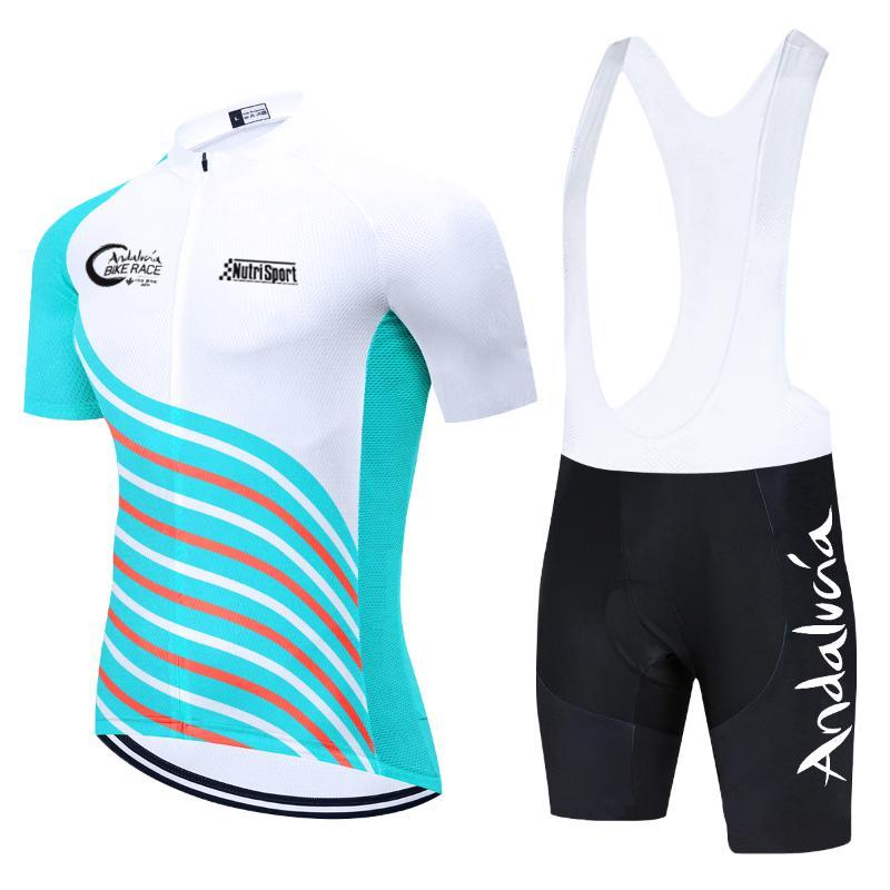 레이싱 세트 2021 팀 안달루시아 사이클링 저지 의류 자전거 바지 스포츠웨어 MTB Ropa Ciclismo Mens 여름 자전거 타이틀러 퀼트 착용