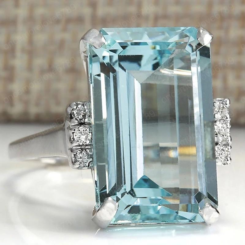 الفاخرة الزفاف الدائري كبير الأزرق الزرقاء مكعب الزركون حجر خواتم للنساء الفضة الزفاف خواتم الخطبة خمر حزب المجوهرات هدية