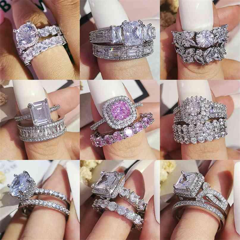 Luxo Sólido 925 Sterling Silver Anéis de Casamento Set para Noiva 2 Pcs Mulheres Noivado Anniversary Presente Atacado Jóias R4869 210610