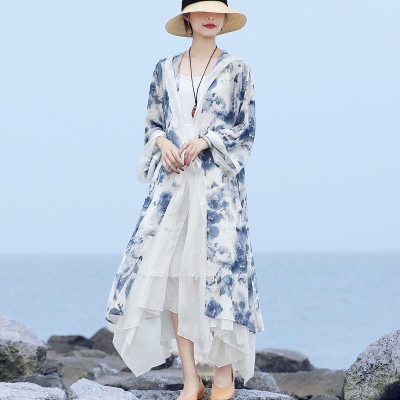 Women's Trench Coats Johnature Women Hoodie Coat Chiffon Long Sleeve Print Floral Elegant Belt LooseClothing 2021 Summer Comfortable Soft