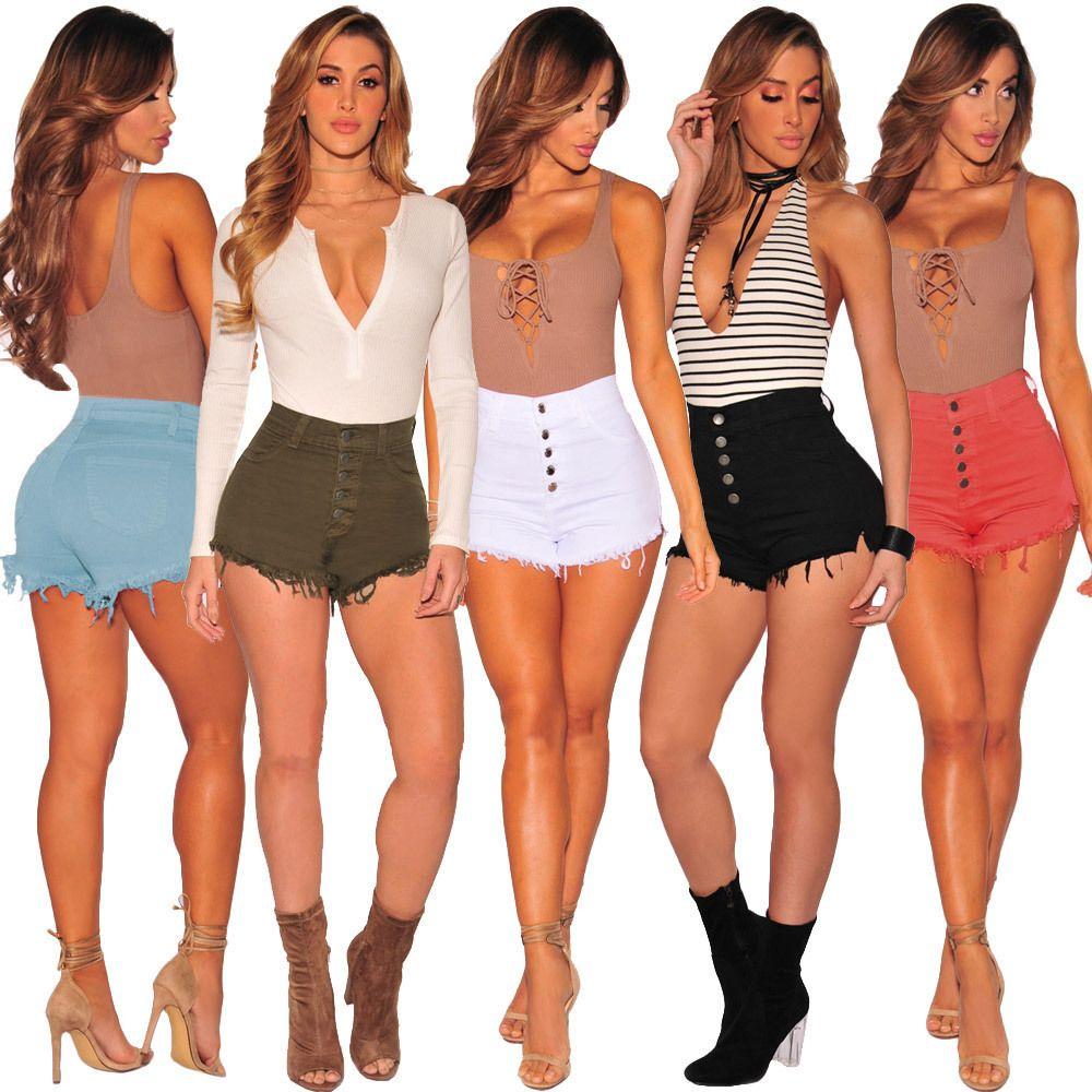2021 New Women Denim Shorts Cotton Ripped Tassel Mid Waist Summer Jeans Short Pants Female Clothing Fashion Style fringed ankle Denim shorts