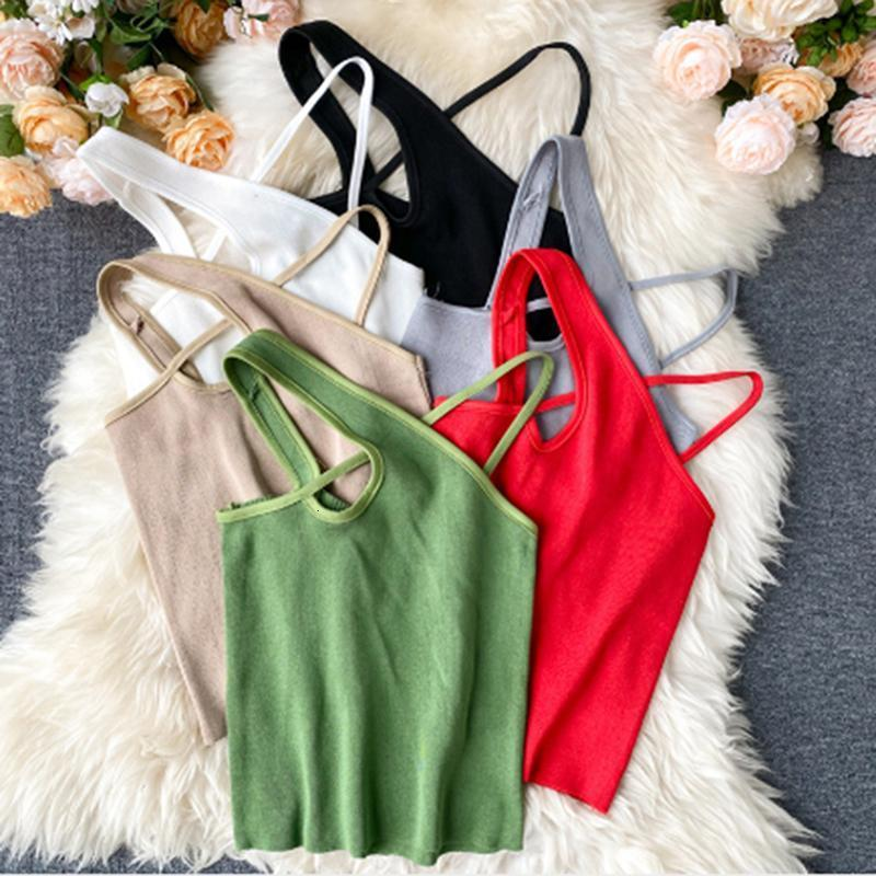 Sexy Cross Cami Slim Femminile Camisole Estate Summer Hollow Out Streetwear Survewein Crop Top Top Color Cotton Cotton Basic Donne Tanks Donne Camis