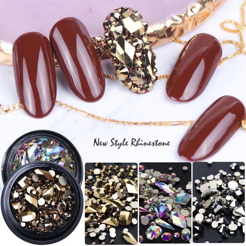 Nail Art Süslemeleri Çok Boyutlu Rhinestones 3D Kristal AB Renk Düz Geri DIY El Sanatları Gemstones Gem Taşları ile