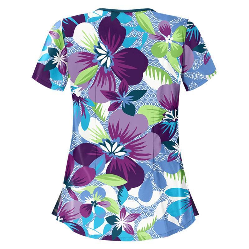 الملابس تي شيرت المرأة الصيف 2021 أعلى العمل موحد القمصان الإناث قصيرة الأكمام قمم المرأة الأزهار المتضخم تي شيرت