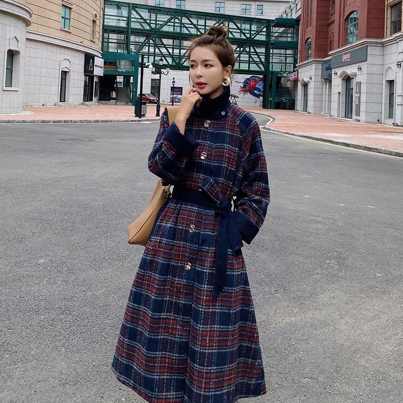 Herbst Wintermantel Frauen Retro Plaid Lange Wollwindbacker Single Breasted Laple Sashe Lose Elegante weibliche Wollmischungen Jacke