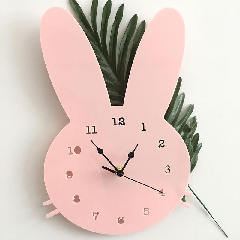 Relojes de pared Insenso nórdico Hogar reloj de dibujos animados MUTE Decoración Habitación de niños de madera D