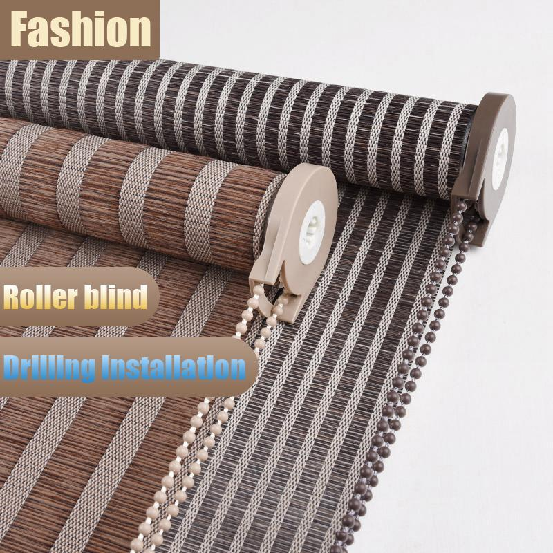 Classical Style Striped Imitation Linen Roller Blind Curtain Lift Blackout For Study Room Tea Office Blinds